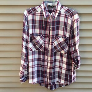 EUC Express button up flannel plaid checker shirt